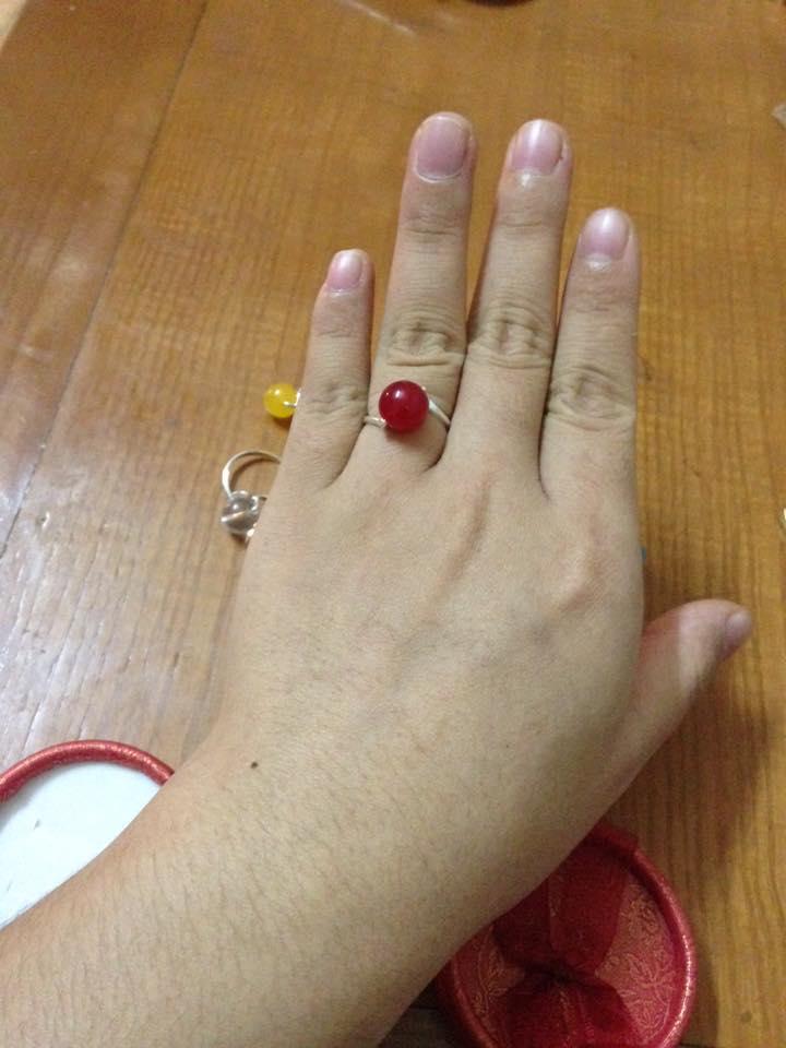 Nhẫn bạc hạt mặt đá mã não đỏ 3 -Hợp mệnh Thổ, Hoả