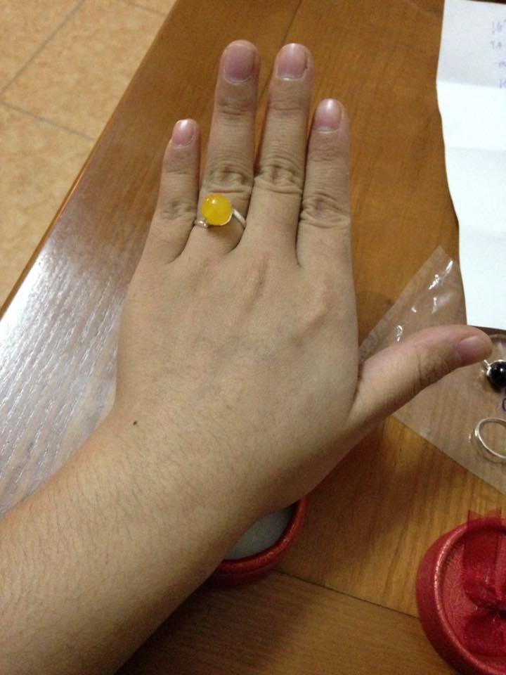 Nhẫn bạc hạt mặt đá mã não vàng 02 -Hợp mệnh Kim, Thổ