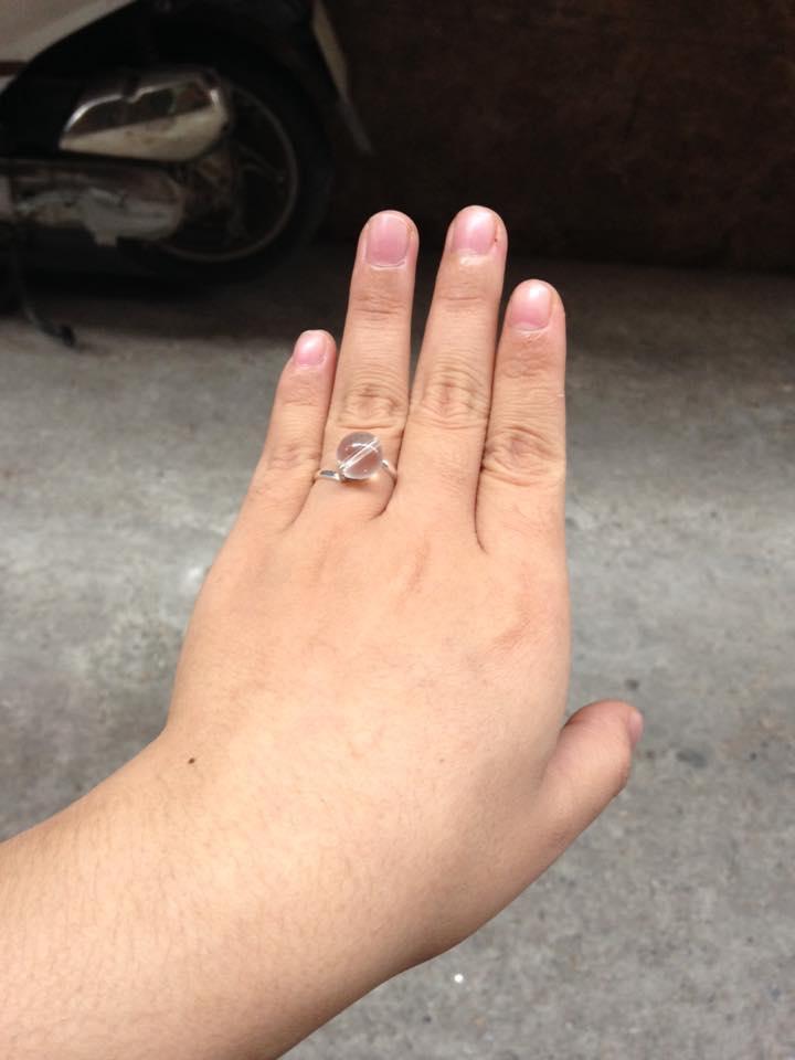 Nhẫn bạc hạt mặt đá thạch anh trắng -Hợp mệnh kim, Thuỷ